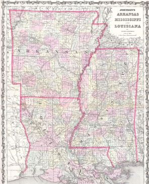 Arkansas, Louisiana, Mississippi Map 1861