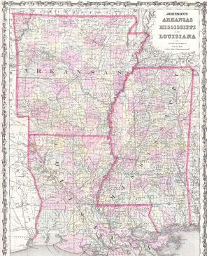 Arkansas, Louisiana, Mississippi Map 1861