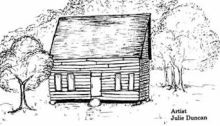 Early Log Church by Julie Duncan