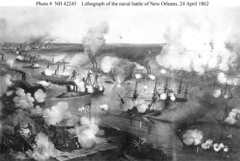 Farragut Passing Forts Jackson and St. Philip, April 24, 1862