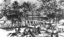 Battle of Shiloh with Shiloh Church in the Background