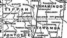 Civil War era Mississippi Map