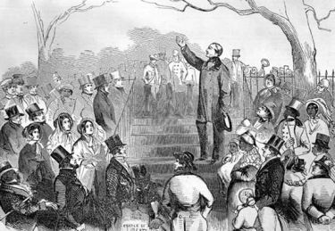 Abolitionist Wendell Phillips speaking at an abolitionist meeting