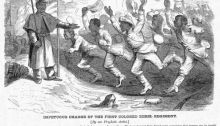"Harpers Weekly, November 5, 1864: ""Impetus Charge of the First Colored Rebel Regiment"". (The slaves charge to freedom behind Union lines.)"