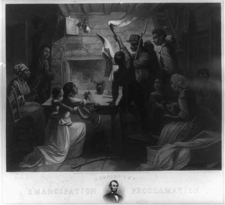 Reading the Emancipation Proclamation / H.W. Herrick, del., J.W. Watts, sc. , 1864