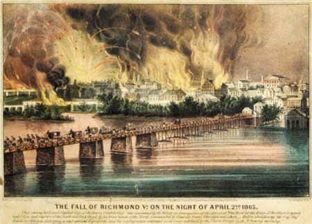 The Fall of Richmond, night of April 2, 1865; Currier and Ives