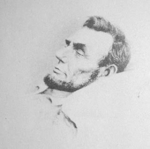 A picture of Lincoln's face as his body lies in the coffin. Taken by John B. Bachelder in Washington on April 16, 1865.