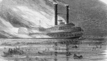 SS Sultana in flames before sinking with great loss of life. (Library of Congress)