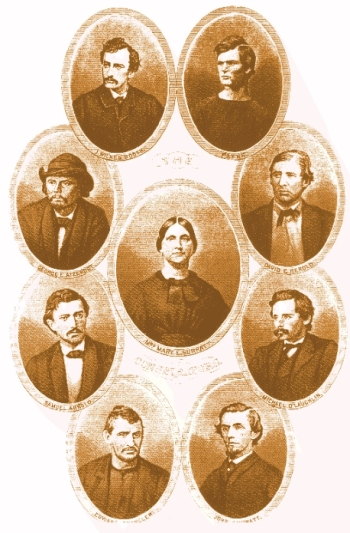 Lincoln Assassination Conspirators. John Wilkes Booth is at the top left.
