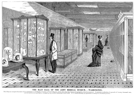 "Engraving of the Army Medical Museum housed in Ford's Theatre from the book, ""Ten Years in Washington: Life and Scenes in the National Capital as a Woman Sees Them"" (1874)."